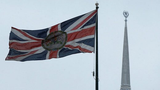 A British flag flies near the United Kingdom's embassy in Moscow.
