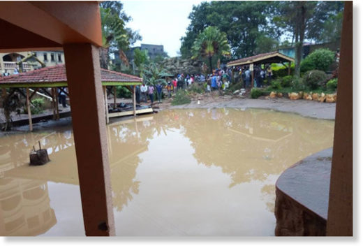 Flooding water at Rwizi Arch Hotel in Kamukuzi Division, Mbarara District after heavy downpour on Wednesday.