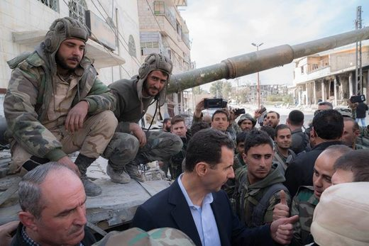 Bashar al-Assad visited army positions in the Eastern Ghouta