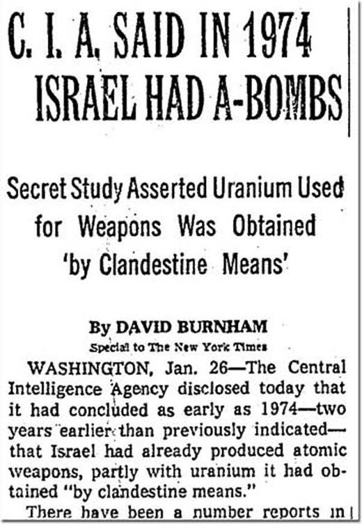 "New York Times story from January 26, 1978 on the declassification of the ""Summary and Conclusions"