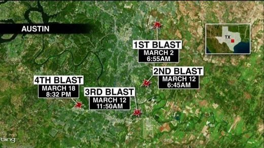 Austin bombing locations