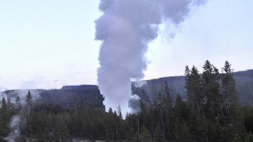 Steamboat Geyser, in Yellowstone National Park in Wyoming, erupts.