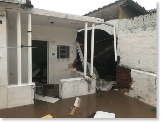 Flood and storm damage in Sao Paul, Brazil, March 2018.