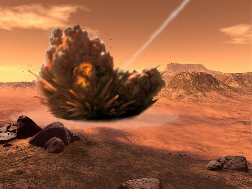 Comets and asteroids shower Mars with organics
