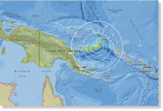 The epicentre of the quake was located 180km south-west of Rabaul on New Britain island, some 900km north-east of the capital Port Moresby, at a depth of 68km.