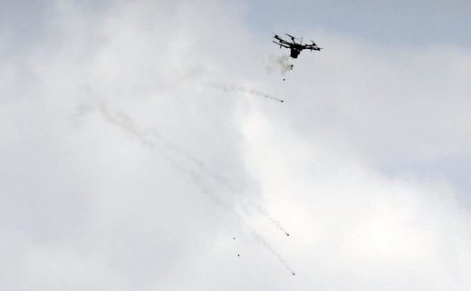 gaza tear gas drone protest