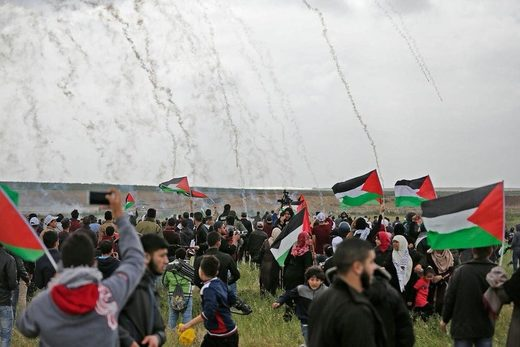 gaza tear gas protest