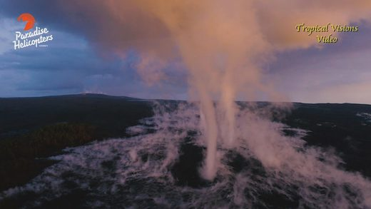 Huge steam vortices filmed above Hawaii's Kilauea volcano