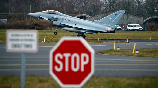 An Eurofighter jets takes off from the German Luftwaffe airbase.