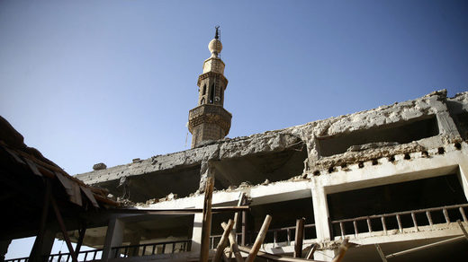 Ruins in Douma, the Syrian city where OPCW inspectors are expected to visit
