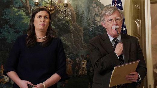 White House Press Secretary Sarah Huckabee Sanders and new National Security Advisor John Bolton