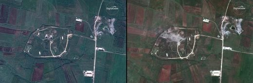 Chemical weapons storage complex at Hims-Shinshar before the strike on April 13, left, and following the strike.