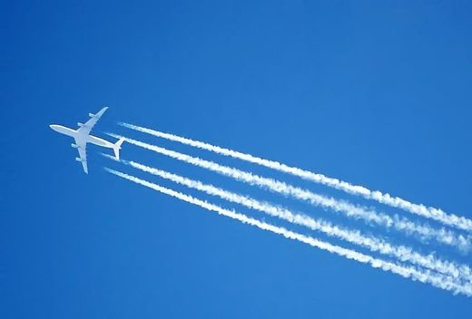 CC0The contrails of an Airbus A340 jet, over London, England