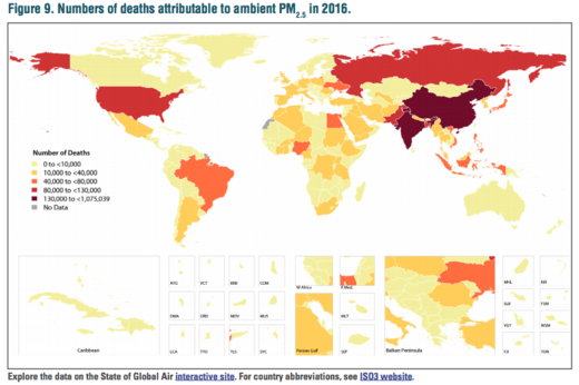 world deaths attributable to pollution 2016