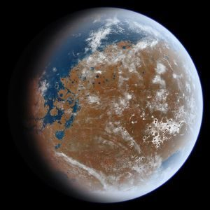 An artist's impression of ancient Mars and its oceans based on geological data.