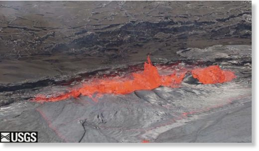 USGS photo shows spattering at on the margin of the Halema'uma'u Crater lava lake margin on Sunday, April 22.