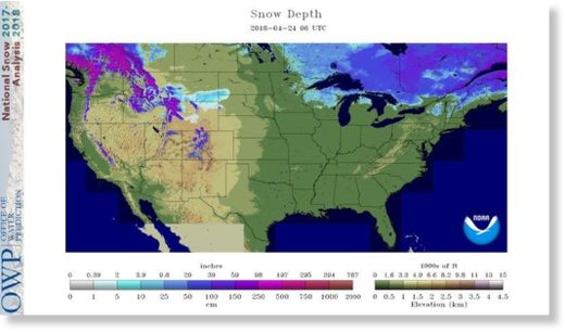 Snow cover across the U.S. on April 24, 2018.