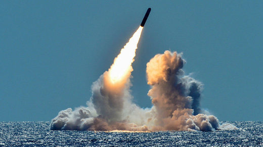 An unarmed Trident II D5 missile test launch from a US Navy submarine
