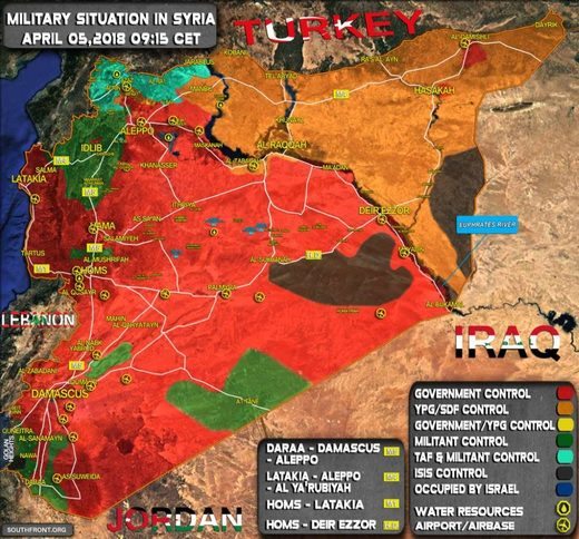 syria spheres of control map