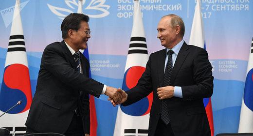 Moon Jae-in and Vladimir Putin