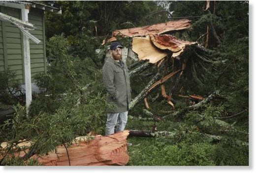 Matt Petuha in front of his family's rented Te Puke home surrounded by the remains of a tree struck by lightning.