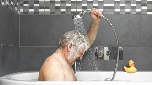 showering man