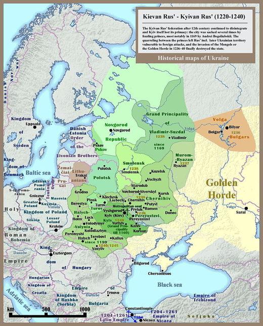 MAp Kievan Rus' 1220