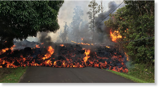 Lava flowing from new fissures along the eastern flank of Hawaii's Kilauea volcano