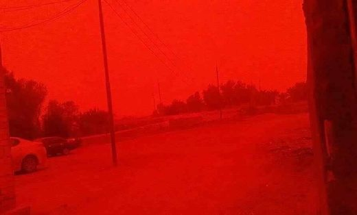 A powerful sandstorm engulfed southern Iraq