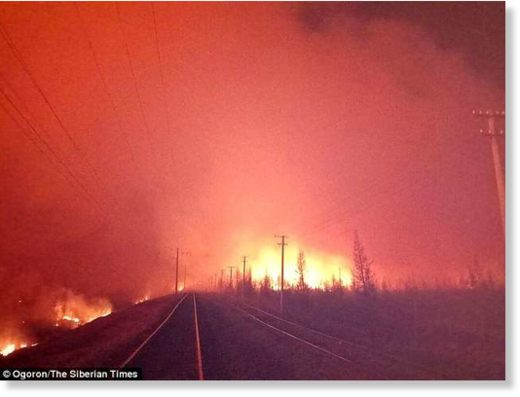 The track is in sprawling Amur region, an area in the far eastern part of Russia and is surrounded by fire
