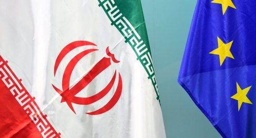 EU Iran flags