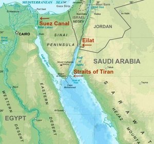 Map of the Suez Canal, the Rea Sea Port in Eilat, Israel, and the Straits of Tiran