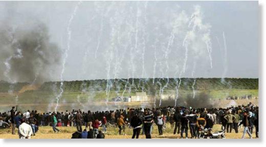 Gaza protestors tear gas