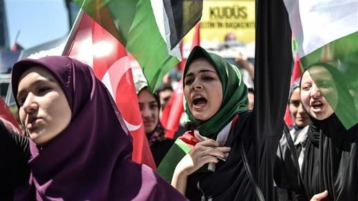 Turkish protesters wave Palestinian flags