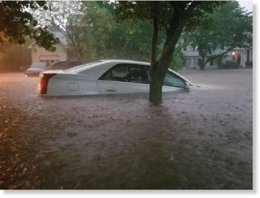 This photos posted to Twitter on May 15 shows cars submerged in a Frederick County neighborhood as heavy downpours trigger flooding in the area.