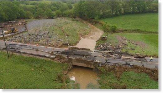 A bridge is in ruins in Frederick County, Maryland after a storm ripped through the DC-area Tuesday, prompting the county to declare a state of emergency.