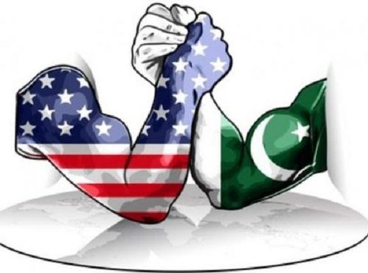 American and Pakistan flagged arm wrestling cartoon