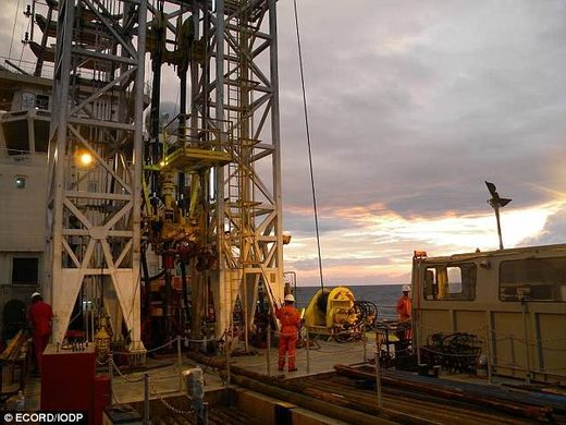 The drill rig on the Great Ship Maya the team used