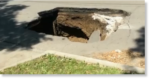 The sinkhole, located on Southwest 12th street and Thornton Avenue, was estimated to be about 35 feet deep.