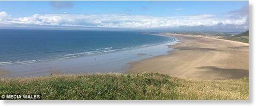 The beautiful beach at Rhossili was voted the best in Europe by Suitcase magazine last year