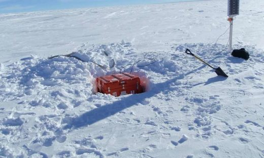 Installation of one of the monitors in the East Antarctica seismic array.