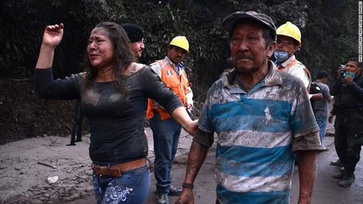 Residents flee El Rodeo village after the Fuego volcano erupted