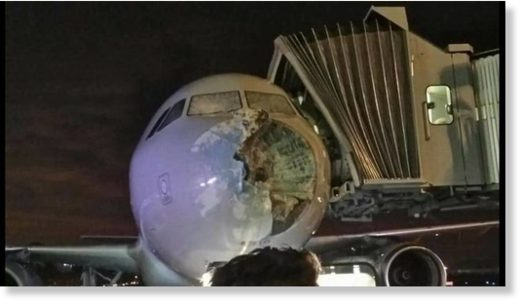 American Airlines plane damaged by hailstorm