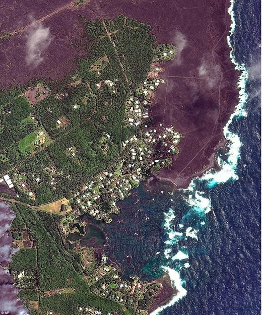 satellite image of Hawaii volcano eruption