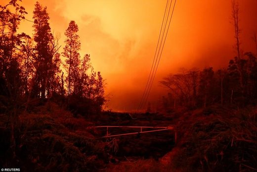 Lava from the Kilauea volcano- orange sky