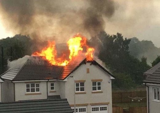 House destroyed by fire after lightning strike in Scotland