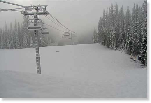 The webcam at SilverStar Mountain Resort's Silverwoods lift shows plenty of snow on the morning of June 11.