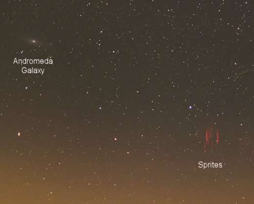 andromeda galaxy and red sprites