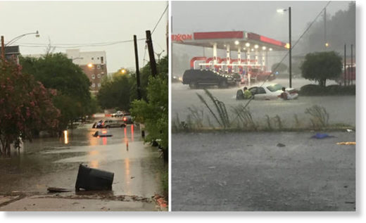 Around 4,500 people have been left without power following flash flooding in Baton Rouge
