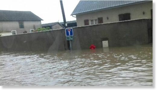 Flooding has already reached critical levels across much of France, including Pau, shown here